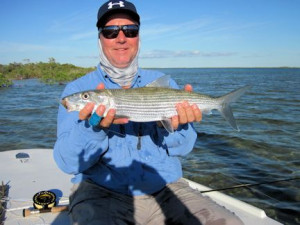 Kirk Grassett, from Midletown, DE, caught and released this bonefish out of of Mars Bay Bonefish Lodge.
